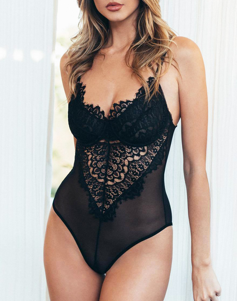 Lace & Mesh Underwired Teddy Black