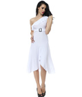 One Shoulder Buckle Gown White