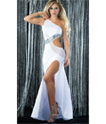 Sequin and Mesh Swirl Gown White