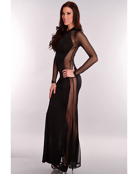 Black Sexy Side Cut Out Maxi Dress