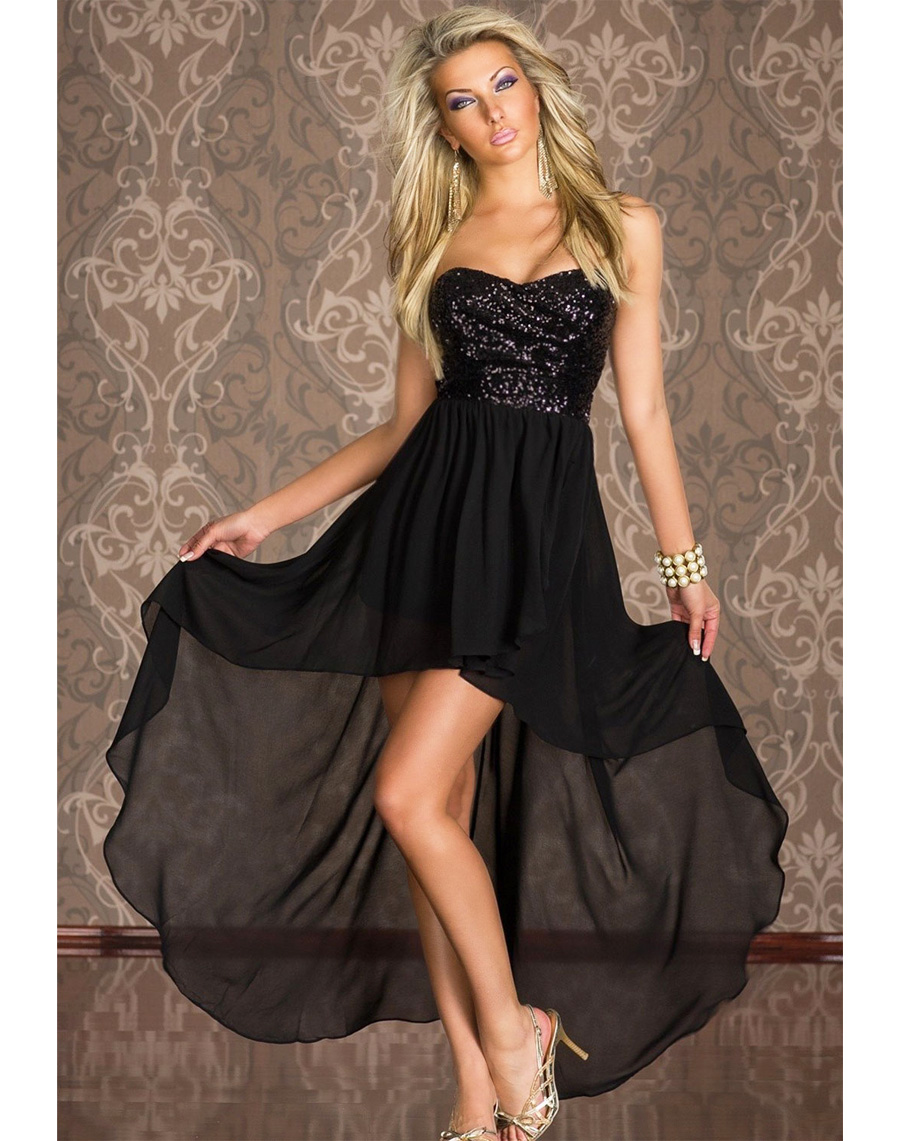 Boulevard Sequined Long Dress Black