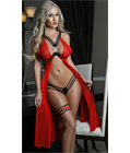 Strappy Mesh Flyaway Gown Set Red