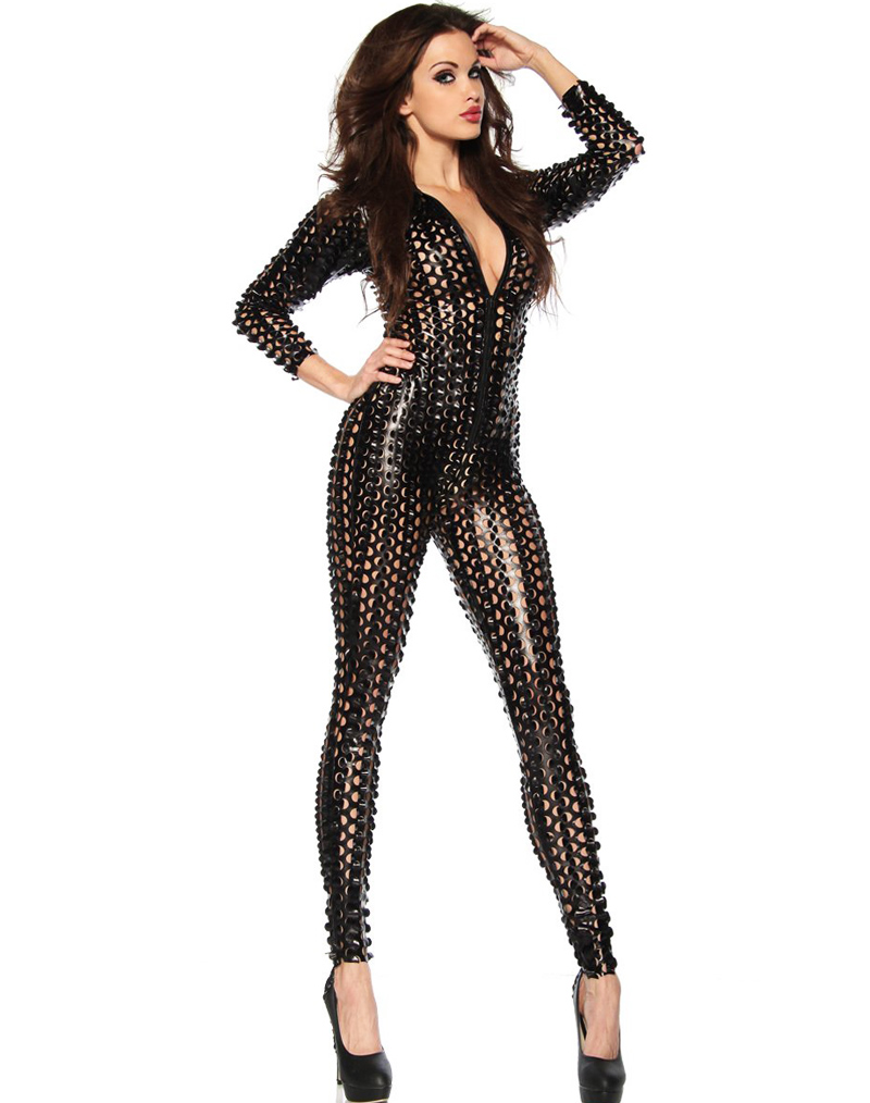 Punk Wetlook Jumpsuit Black