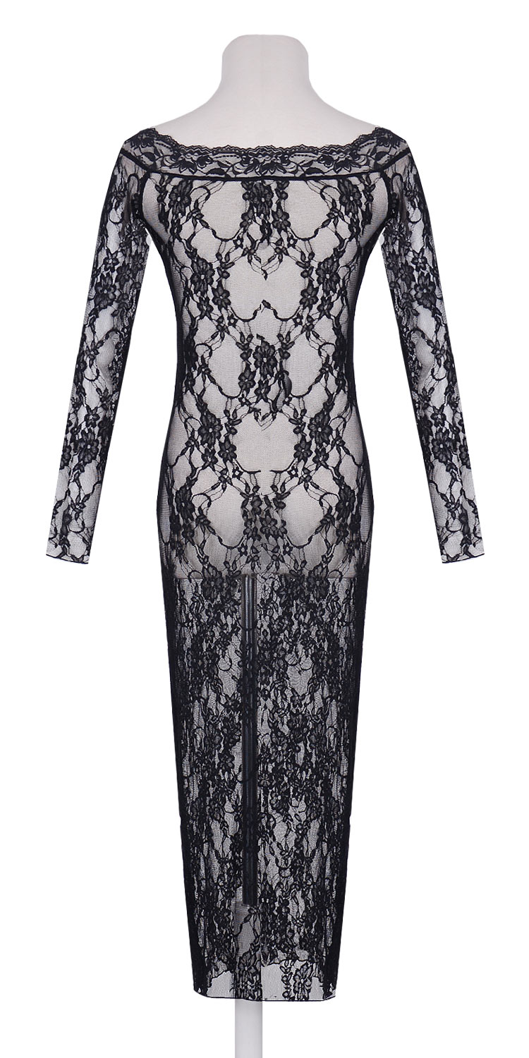Classic Long Sleeves Lace Gown Black