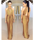 Bella Luxurious Evening Dress Tan