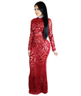 Maxi Long Sequin Dress Red