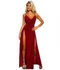 Burgundy High Split Maxi Dress