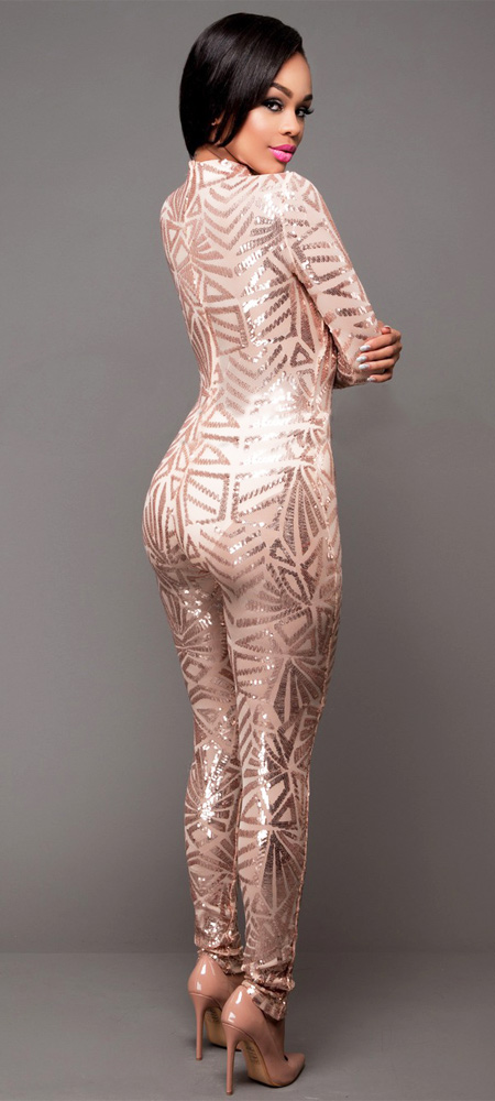 Sequins Bodycon Jumpsuit Champagne
