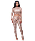 Sequins Crop Top Bodysuit Champagne