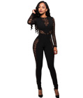 Lace Patchwork Jumpsuit Black