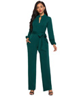 Elegant Office Lady Jumpsuit Green