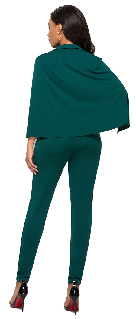 Sexy Deep V Neck Jumpsuit Green
