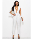 Sexy Deep V Neck Jumpsuit White