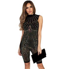 Mesh Rhinestone Sleeveless Jumpsuit