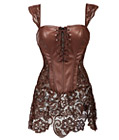 Gothic Leather Corset with Lace Skirt Coffee