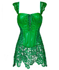 Gothic Leather Corset with Lace Skirt Green