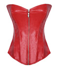 Leather Zipper Front Corset Red
