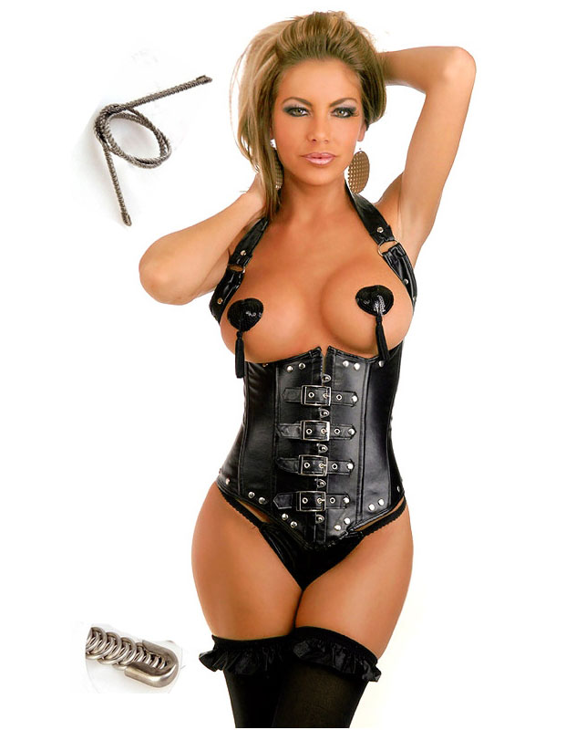 Buckle Faux Leather Corset Black With Metal Bones
