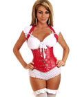 Buckle Faux Leather Corset Red With Metal Bones