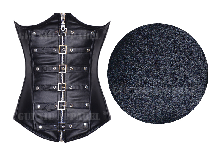 Faux Leather Cupless Buckle Corset