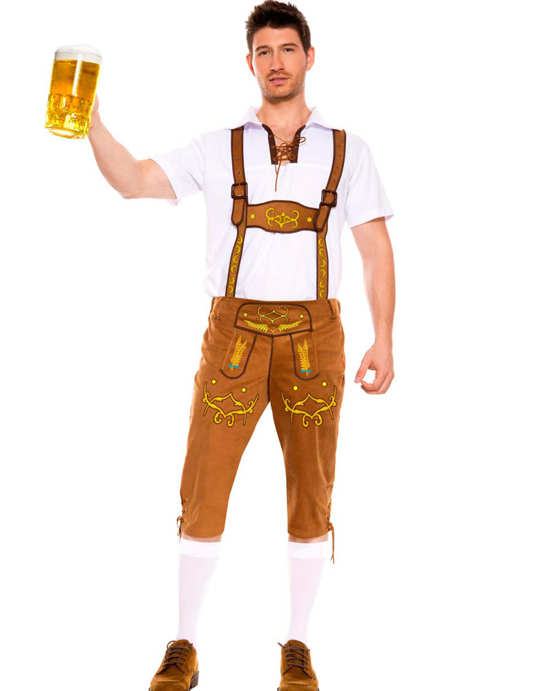 Mens Bavarian Lederhosen Costume Brown