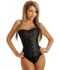 Black Embroidered Steel Boned Corset