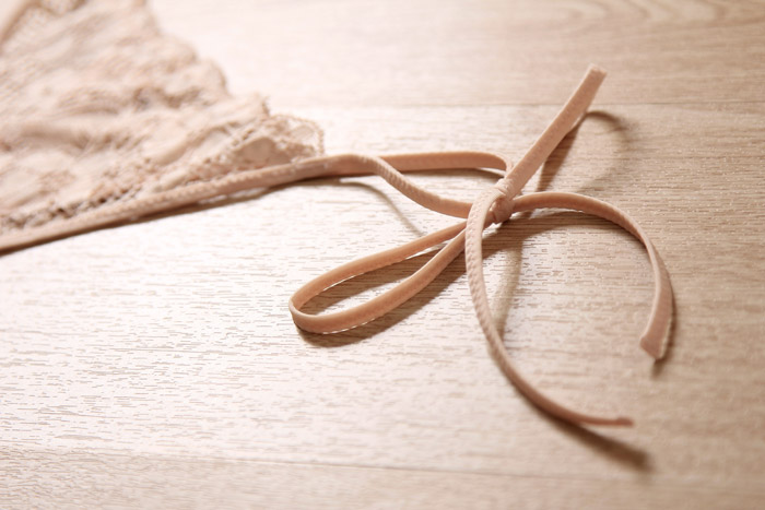 Sexy Side Tie Lace Thong Nude