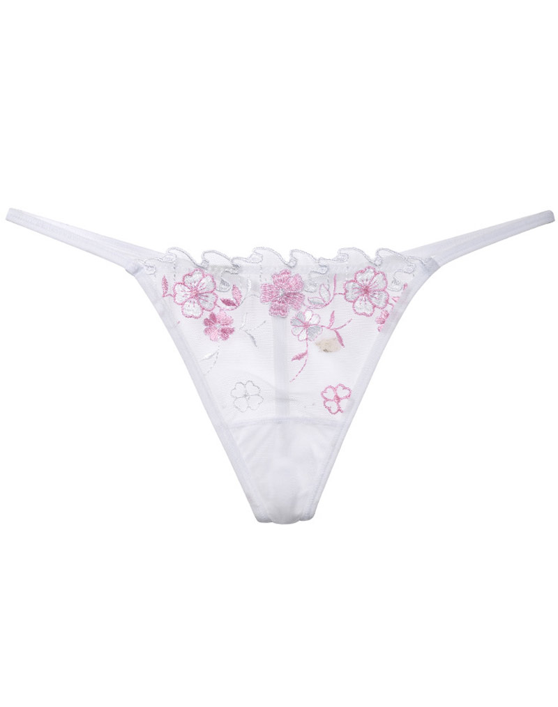 Embroidered Mesh G-string White