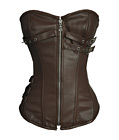 Steel Boned Faux Leather Corset Brown