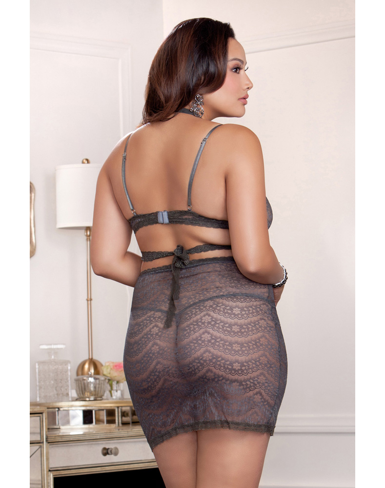 Dove Grey Lace Wrap Bra and Skirt Plus Size