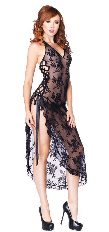 Lace Naughty Gown Black