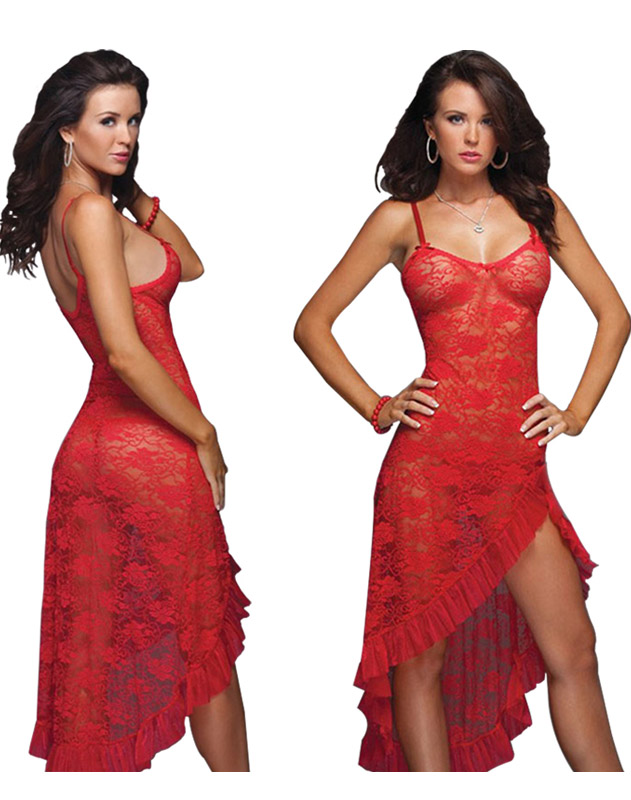 Plus Size Lace Gown Red