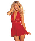 Gorgeous Lace And Mesh Babydoll Red