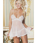 Chopper Bar Lace And Net Babydoll White