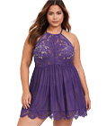 Plus Size High Neck Lace Babydoll Purple