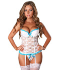 Lace Bustier Garters White