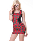 Red Plaid With Vinyl Schoolgirl Costume