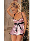 Bra Top Babydoll With Satin Front Pink