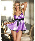 Bra Top Babydoll With Satin Front Purple