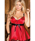 Bra Top Babydoll With Satin Front Red