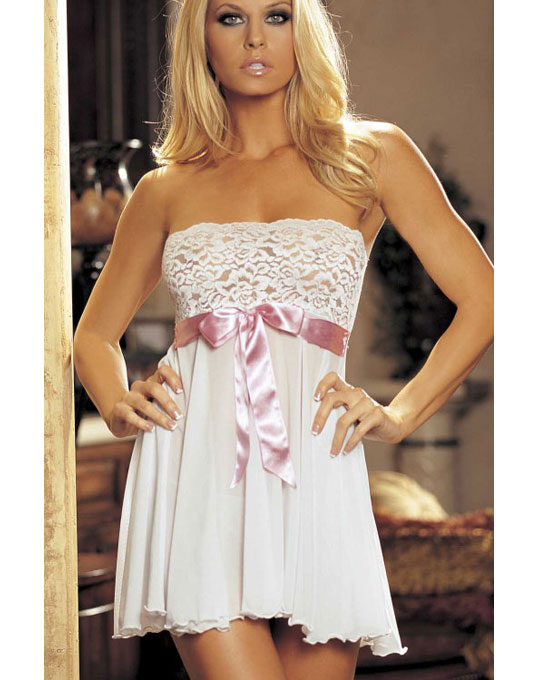 Front Tie Babydoll White
