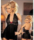 Gorgeous Lace And Mesh Babydoll Black