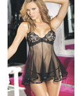 Chopper Bar Lace And Net Babydoll Black
