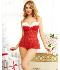 Sexy Xmas Lace Babydoll and Thong Set