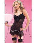 Bow Mesh Chemise with Padded Cups Black