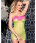 Green Net Dress With Pink Fringes