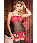 Sheer Gauze Valentine Lingerie Dress Red