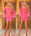 Lace Trim Long Bell Sleeve Babydoll Pink