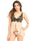 Nude Mesh Babydoll With Lave Overlay