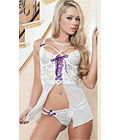 Strappy Lace and Mesh Flutter Babydoll White
